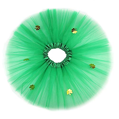 k´s Day Tutu Rock 3 Schichten Mädchen Ballerina Rock Kleeblatt Muster St. Patrick´s Day Kostüm 30cm (Grün) ()