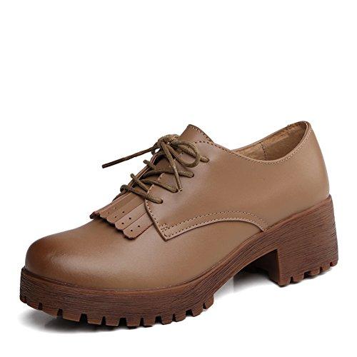 Chunky printemps talons chaussures femme/Chaussures rétro Angleterre/Chaussures en cuir/Chaussures de glands B