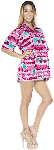 La Leela Kleidfrauen Knopf hawaiianischen Strand Tag Luau Partei Coverup Unten oben Kurzen �Rmeln Damen Rosa