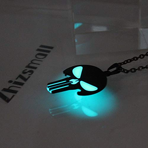 Punisher Skelett Glowing Halskette Punk Necklace Pendants Necklace Glow In Der Dark Super Helden Amulet-geschenk