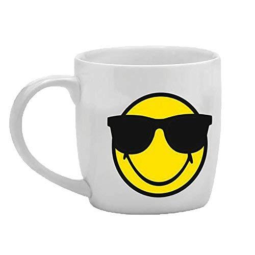zak! Tee-Tasse Smiley-Sonnenbrille 350ml in weiß, Porzellan, 8.5 x 12.5 x 10 cm