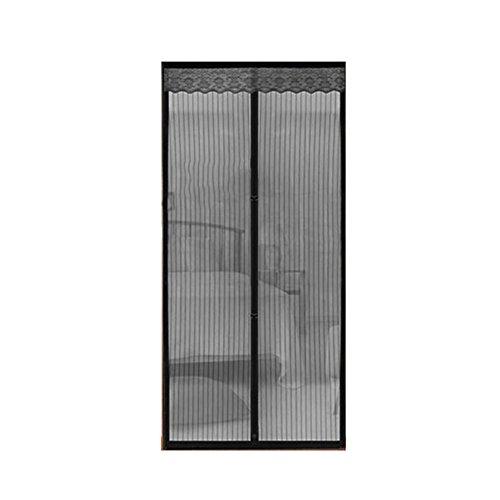 A&j zanzara magnetica morbido filato cortina fibbia a strisce nera bug mesh screen door 100*210 cm (nero)