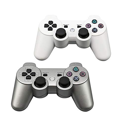 Tidoom PS3 Controller 2 Pack Wireless Bluetooth 6-Achsen Gamepad Controller kompatibel für Playstation 3 Dualshock 3 (Weiß + Silber)