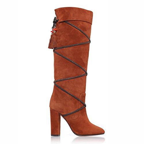 L@YC Stivali In Pelle Scamosciata Da Donna Winter Fall Comfort Toe Stivali al Ginocchio In Punta Chiusa Per Casual Outdoor Nero Marrone Scuro Brown