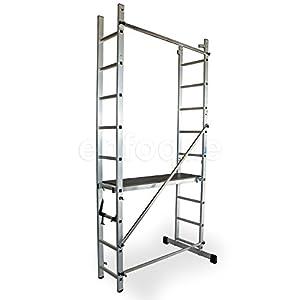 ALTIPESA Escalera – andamio Profesional de Aluminio 2×9 peldaños Multiusos