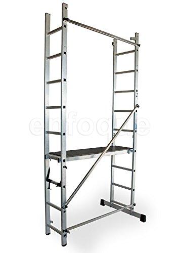 ALTIPESA Escalera - andamio Profesional de Aluminio 2x9 peldaños Multiusos