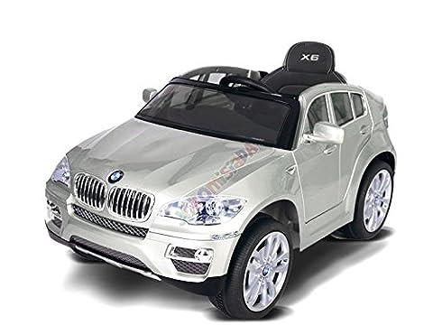 Kinderauto Kinderfarzeuge Elektro Lackierter / Silver BMW X6 Ledersessel EVA + Pilot für Eltern / perfekt für Geschenk