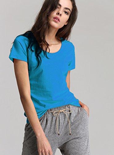 Escalier Femmes Basique T-Shirt Col rond Coton Manches Courtes Tops Bleu