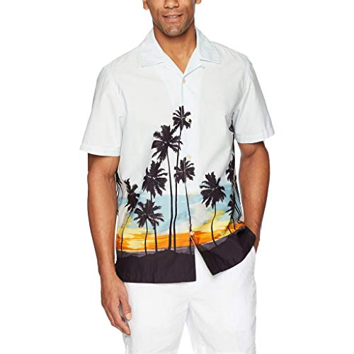 EUZeo Männer Casual Sommer Gedruckt Taste Kurzarm Hawaiian T-Shirt Top Herren kurzärmelig Sommershirts Tee Shirts Pullover Cardigan Strickjacke - Hawaiian Gedruckt