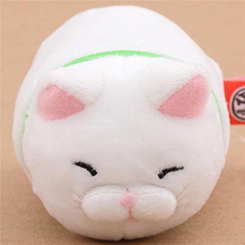 Kawaii Muñeco peluche pequeño gracioso gato blanco collar verde Hige Manjyu de Japón