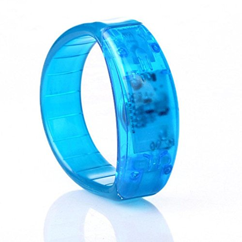 Preisvergleich Produktbild Sansee LED leuchtende Sound Kontrolle Armband großen Mode Sound kontrolliert Voice LED leuchten Armband aktiviert Glow Flash Bangle (blau)