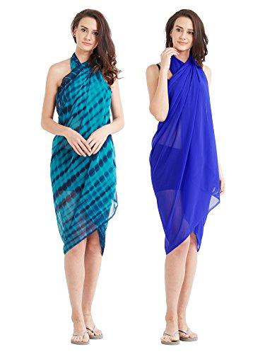 Frauen Beach Wear Wrap 2 Sarong Combo gedruckt Pareo Badeanzug Bikini Cover up vertuschen (Badeanzug Wraps Sarongs)