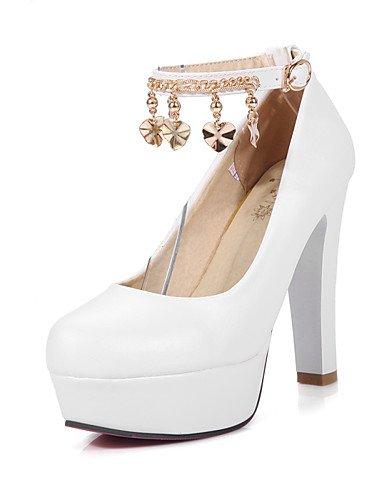 WSS 2016 Chaussures Femme-Bureau & Travail / Décontracté-Bleu / Rose / Blanc-Gros Talon-Talons / Bout Arrondi-Talons-Polyuréthane white-us9.5-10 / eu41 / uk7.5-8 / cn42