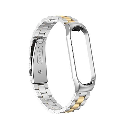Xiaomi Xiaomi Mi 10 Armband Drei Riemen, Webla, Für Xiaomi Mi Band 3 Mode Luxus Edelstahl Handschlaufe Metall Armband, Edelstahl Sonne (G) Band Slicer
