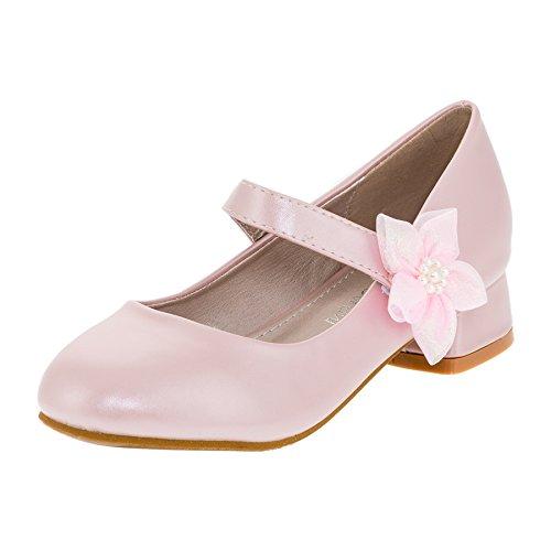 Doremi Festliche Mädchen Pumps Ballerinas Schuhe mit Absatz in Vielen Farben M370rs Rosa 28