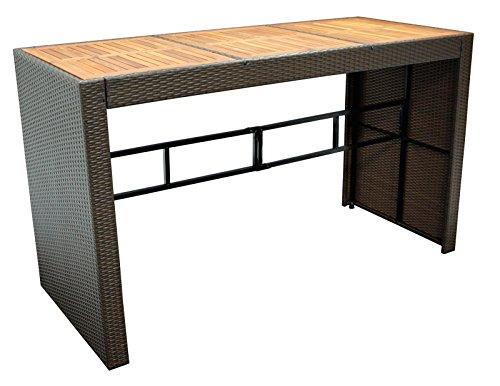 DEGAMO Bartisch CORTINA 185x80cm, Höhe 110cm, Metallgestell + Polyrattan braun, Tischplatte Akazie