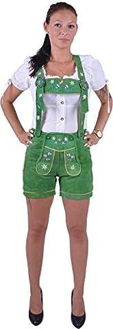 Almwerk Damen Trachten Lederhose Modell Blümli in braun, schwarz, rot und grün, Größe Damen:L - Größe 40;Farbe:Grün