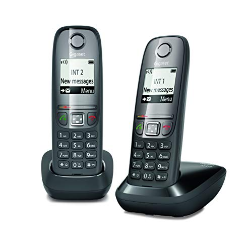 Gigaset as475 duo, due telefoni cordless, chiamate tra interni/interfono, rubrica personalizzabile, trasferimento di chiamata, display da 1.8