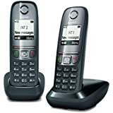 Gigaset AS 475 Duo, Due Telefoni Cordless, Chiamate tra Interni/Interfono, Rubrica Personalizzabile, Trasferimento di Chiamata, Nero [Italia]
