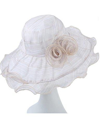 Écran solaire en dentelle en mousseline de soie respirant Chapeau de soleil Folding Flowers Big Along The Sun Hat (Trois couleurs à choisir) ( Couleur : 3 ) 2