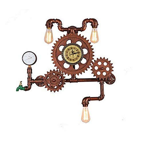 MAKKC Retro Gear Metal Aplique de Pared Steampunk Vintage Gran Escala Tubo de Agua Lámpara de Pared Personalidad Estilo Industrial Antiguo Reloj Luz de Pared for Creative Cafe Restaurant Bar