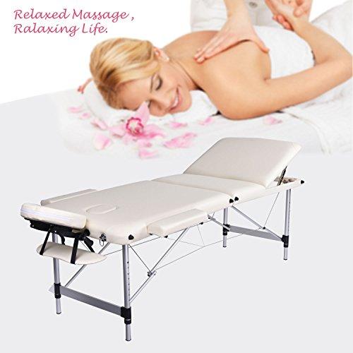 Wellhome 3 zone alluminio tavolo da massaggio portatile large xxxl 216 cm tatoo reinserimento massaggio svedese terapista + poggiatesta regolabili + pvc corrimano + 600d portare la borsa (bianco)