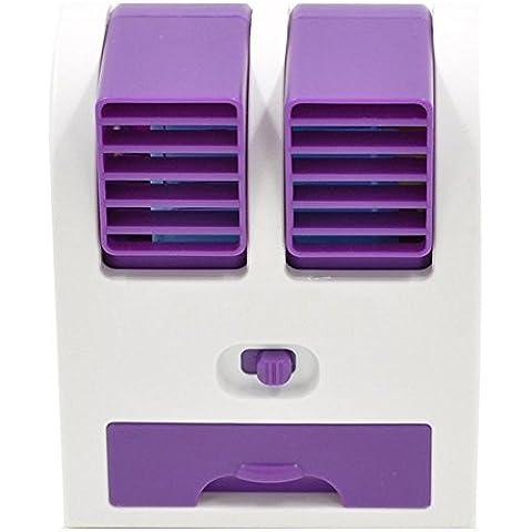 kokome Portable escritorio ventilador Mini USB Mini portátil aire acondicionado Mini ventilador refrigerador ajustable doble aire salidas de aire (Púrpura)