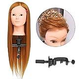 Luckyfine Professionnel 24'' Super Longs Cheveux Naturels, Tête d'exercice Femme Dorée, Tête à coiffer, Tête de Coiffure + Support...