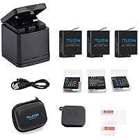 TELESIN Chargeur de Batterie Triple Set Chargeur + Batteries avec câble USB Type-C Kit d'accessoires pour GoPro Hero 6 / Hero 5