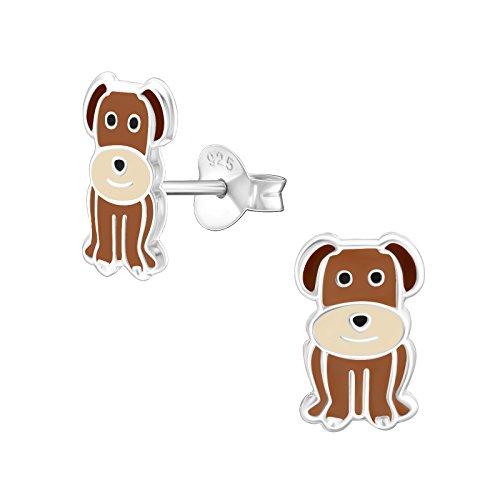 Kostüm Puppy Kind Love - Mädchen Braun Hund Sterling Silber Ohrstecker 11mm
