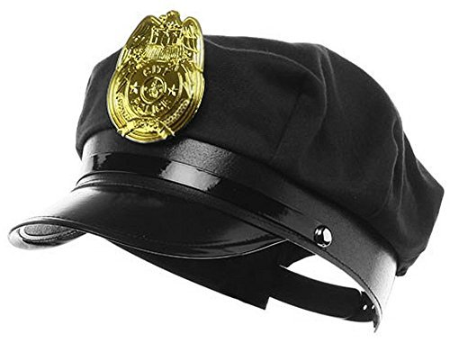 Jacobson Hat Company Police Hat with Bright Gold Plastic Badge - Black by Jacobson Hat Company (Jacobson Hat)