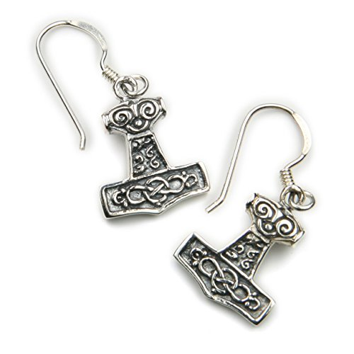 Orecchini da donna 925 argento orecchini martello di Thor timando, Lunghezza con gancio: 27 mm, martello di Thor drachensilber