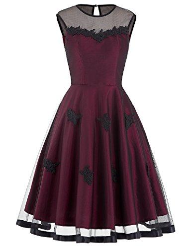 Belle Poque Vintage Retro Kleid 50er Jahre Kleid Damen Festliche Kleider Swing Kleid gürtel Kleid L...