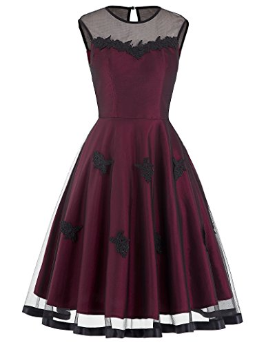 50s Knielang Rundausschnitt Sommerkleid petticoat Kleid Ohne Arm