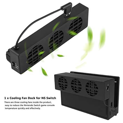 Pgige Ventilador de enfriamiento para Nintendo Switch NS Base Original Consola de Juegos Consola Refrigerador de estación Base con Ventilador de enfriamiento USB de 3 Ventiladores