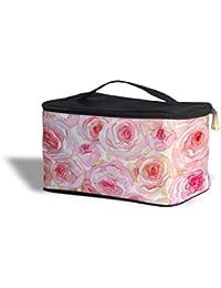 Acuarela rosas cosméticos caja de almacenamiento–maquillaje con cremallera bolsa de viaje, Rosa, One Size Cosmetics Storage Case