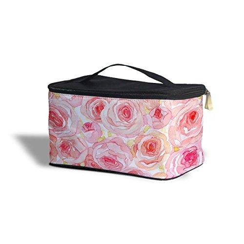 Aquarelle roses cosmétiques maquillage étui de rangement – Fermeture éclair sac de voyage, rose, One Size Cosmetics Storage Case