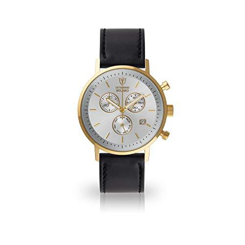 DETOMASO Milano Herren-Armbanduhr Chronograph Analog Quarz vergoldetes Edelstahlgehäuse silbernes Zifferblatt (Leder- Schwarz)