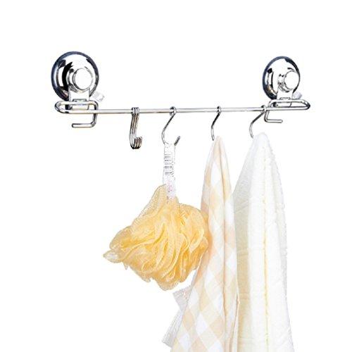 Hakenleiste Küchenreling Garderobenhaken Mit 6 Haken Saugnapfhalterung Wandhaken Glänzend Edelstahl rostfrei für Küchen Badezimmer ONEGenug