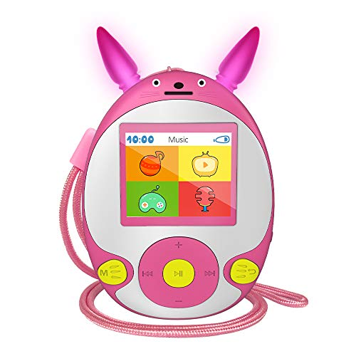 Kinder MP3 Player mit Bluetooth Lautsprecher Schlüsselband-Kopfhörer FM Radio Voice Recorder Video Spiele, Bluetooth Musik-Player mit 1,8-Zoll Display Erweiterbar auf 128 GB