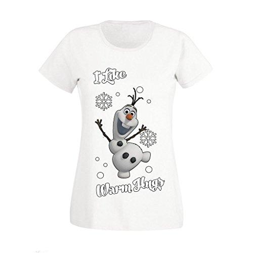 Signore congelata Disney Olaf femminile Mi piace Warm Abbracci alta Natale qualità ha stampato le magliette FORMATO BRITANNICO 8-16 White