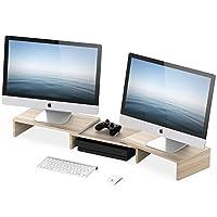 رفوف رفع وحامل الشاشة المزدوج من فيتيوايز مع رف بطول وزاوية قابلة للتعديل ويسع شاشتي كمبيوتر، بلون بيج - DT108006WO