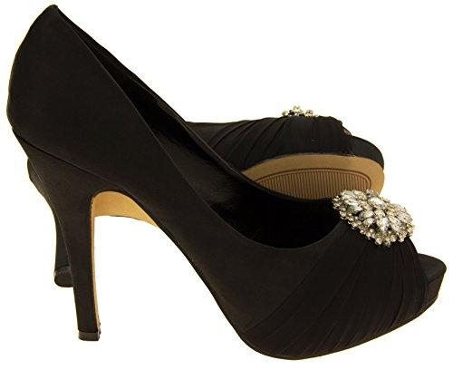 Donna Sabatine scarpe da sposa a grappolo diamante raso Nero