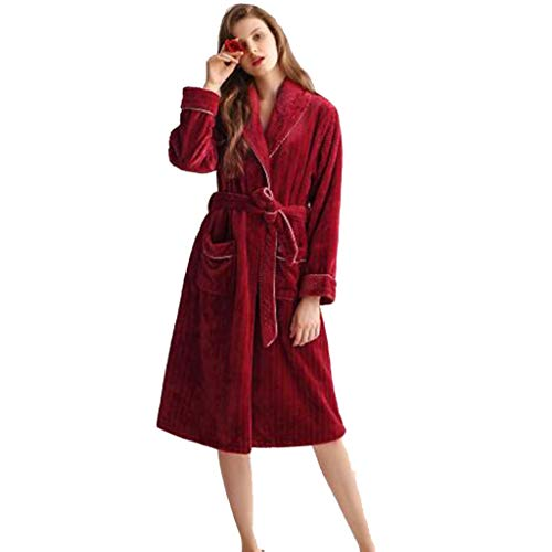 Unbekannt NAN Liang Winter Bademäntel 100% Baumwolle Damen Morgenmantel Big Red Padded Nightwear Ultra Soft Robes (größe : M) - Red Soft Robe