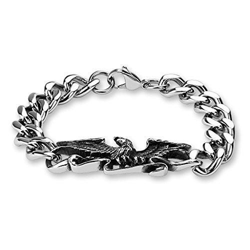 Coolbodyart bracciale in acciaio inox Bike Bracciale Cinturino a maglie Mystic con decorazione aquila argento, argento antico lunghezza 220mm, spessore: 5mm cbasbs
