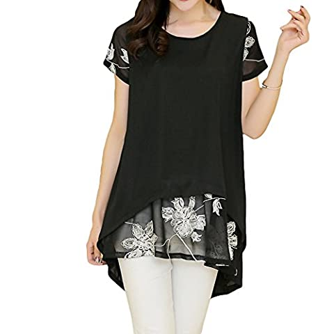 Romacci New Fashion Women Chiffon Blouse Embroidery O-Neck Short Sleeve Loose Fit Casual Tops S-XL,White/Black