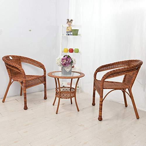 Huoduoduo Tisch- und Stuhlgarnitur, handgewebter Rattantisch und Stuhl, multifunktional...