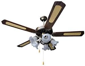 Ventilateur de plafond- Mod XL- 4 pales rétro 5 feux lampes 3 vitesses-lila24.com