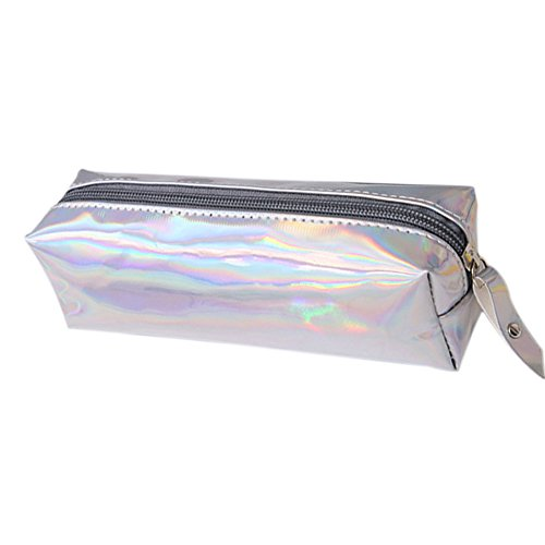 Fablcrew - Trousse de grande capacité, brillante à fermeture éclair pour stylos ou produits de maquillage - Idéal pour la maison, l'école, le bureau 16*11*6CM silver