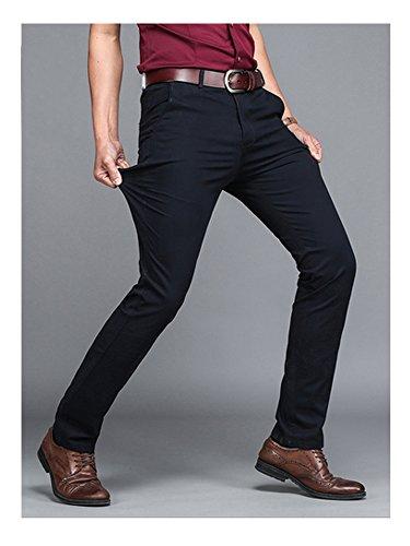 Pantalone Chino Slim Fit Coupe Droite En Coton Business Casual Noir